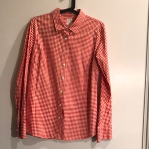 J Crew The Perfect Shirt Gingham Check Red White 8